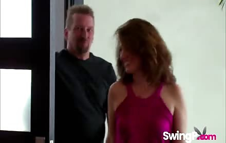 Horny mature couple entering the swinger club on reality TV